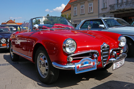 restored: CROATIA SAMOBOR, 17 JULY 2011: Alfa Romeo Giulietta Spider classic car, 14. Oldtimer Rally in Samobor, Croatia