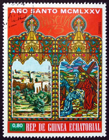 EQUATORIAL GUINEA - CIRCA 1975: a stamp printed in Equatorial Guinea shows Cross Monastery in Jerusalem, circa 1975