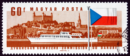 HUNGARY - CIRCA 1967: a stamp printed in Hungary shows Diesel Hydrobus, Bratislava Castle and Czechoslovak flag, circa 1967