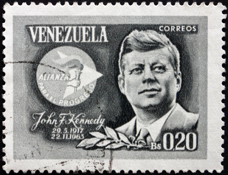 VENEZUELA - CIRCA 1965: a stamp printed in the Venezuela shows John F. Kennedy and Alliance for Progress Emblem, circa 1965