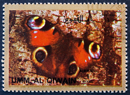 UMM AL-QUWAIN - CIRCA 1972: a stamp printed in the Umm al-Quwain shows Butterfly, Insect, circa 1972