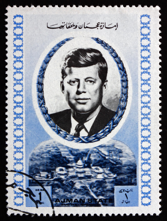AJMAN - CIRCA 1972: a stamp printed in Ajman shows John F. Kennedy, an American Politician who Served as the 35th President of United States, circa 1972