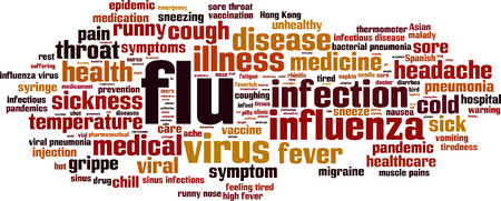 influenza: Flu word cloud concept. Vector illustration