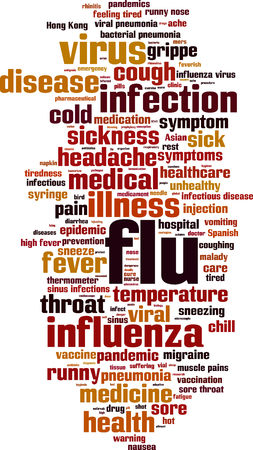 Flu word cloud concept. Vector illustration