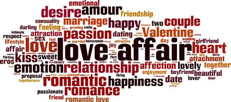 恋愛単語雲概念。ベクトル図