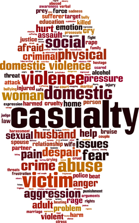 Casualty word cloud concept. Vector illustration