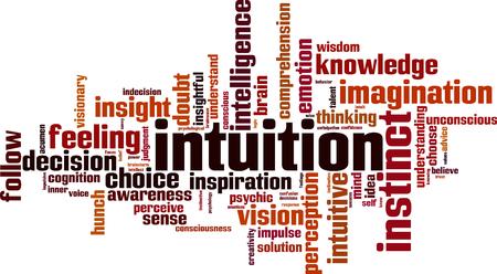 Intuïtie woord wolk concept. Vector illustratie Stock Illustratie