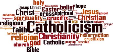 Catholicism word cloud concept Ilustração Vetorial