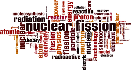 powerhouse: Nuclear fission word cloud concept. Vector illustration