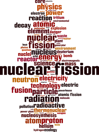 nuclei: Nuclear fission word cloud concept. Vector illustration