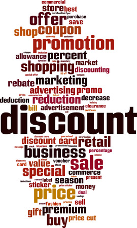discounting: Discount word cloud concept. Vector illustration