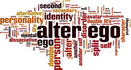 Alter ego word cloud concept illustration. Çizim
