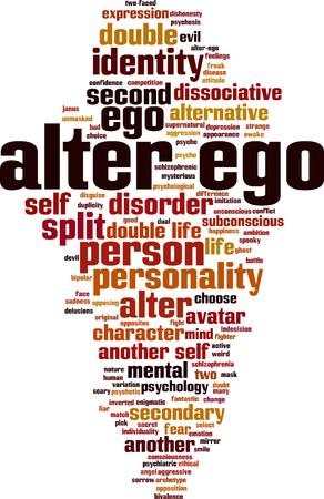 Alter ego word cloud concept. Vector illustration