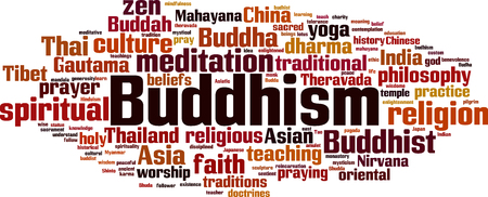 Buddhism word cloud concept. Vector illustration