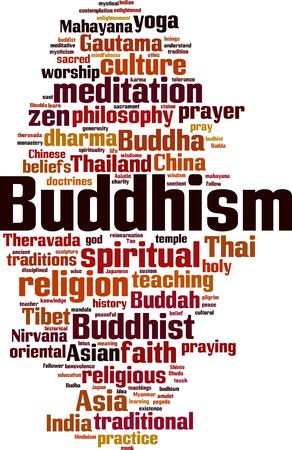 仏教の単語の雲の概念。ベクトル図