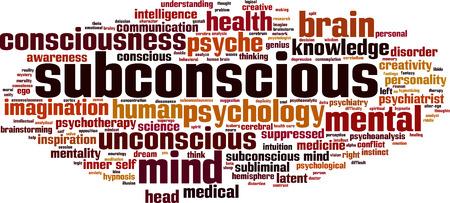 Concepto de nube de palabras subconsciente. Ilustración vectorial
