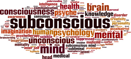 Subconscious word cloud concept. Vector illustration