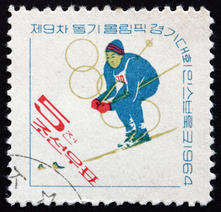 NORTH KOREA - CIRCA 1964: a stamp printed in North Korea shows Skier, 9th Winter Olympic Games, Innsbruck, circa 1964 Editorial