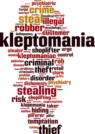 Kleptomania word cloud concept. Vector illustration.