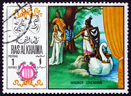 RAS AL-KHAIMAH - CIRCA 1969: a stamp printed in Ras al-Khaimah shows Lohengrin by Richard Wagner, Scene from Opera, circa 1969