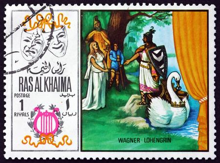 RAS AL-KHAIMAH - CIRCA 1969: un sello impreso en Ras al-Khaimah muestra a Lohengrin por Richard Wagner, escena de la ópera, circa 1969 Editorial