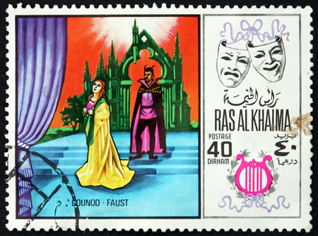 RAS AL-KHAIMAH - CIRCA 1969: a stamp printed in Ras al-Khaimah shows Faust by Charles Gounod, Scene from Opera, circa 1969 Editorial