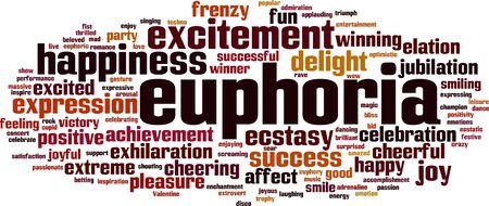 Euphoria word cloud concept. Vector illustration Illusztráció