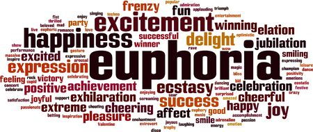 Euphoria word cloud concept. Vector illustration Illustration