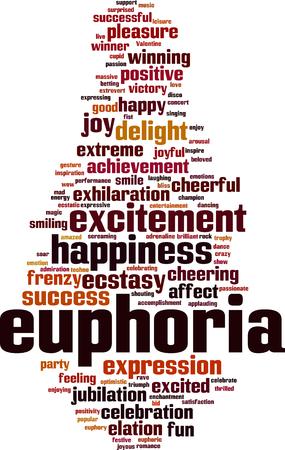 Euphoria word cloud concept. Vector illustration Ilustrace