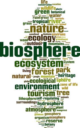 Biosphere word cloud concept. Vector illustration Illustration