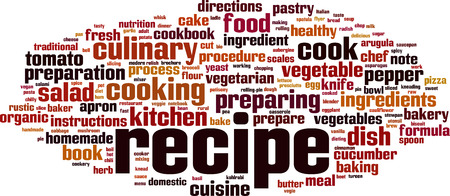Recipe word cloud concept. Vector illustration