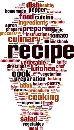 Concepto de nube de word de receta. Ilustración vectorial