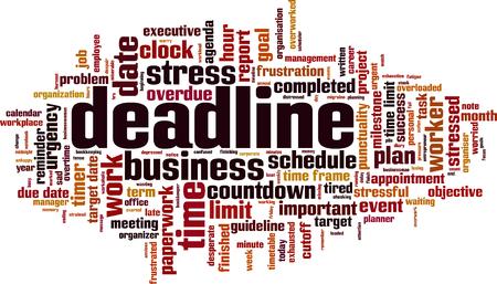 Deadline word cloud concept. Vector illustration