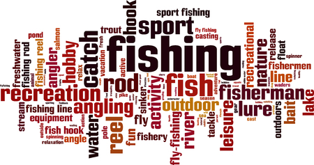 Fishing word cloud concept. Vector illustration