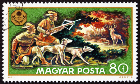 HUNGARY - CIRCA 1971: a stamp printed in Hungary shows Deer Hunt, World Hunting Exhibition, Budapest, circa 1971