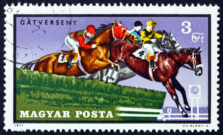 HUNGARY - CIRCA 1971: a stamp printed in Hungary shows Steeplechase, Equestrian Sport, circa 1971