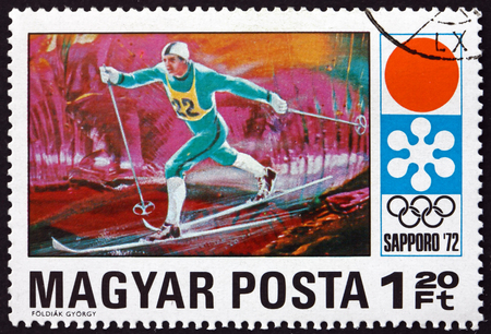HUNGARY - CIRCA 1971: a stamp printed in Hungary shows Long-distance Skiing, 11th Winter Olympic Games, Sapporo, circa 1971
