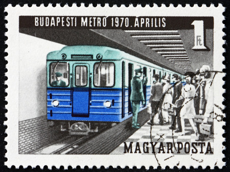 HUNGARY - CIRCA 1970: a stamp printed in Hungary shows Subway, Opening of New Budapest Subway, circa 1970