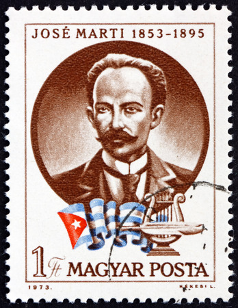 HUNGARY - CIRCA 1973: a stamp printed in Hungary shows Jose Marti, Cuban National Hero and Poet, circa 1973