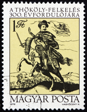 HUNGARY - CIRCA 1978: a stamp printed in Hungary shows Count Imre Thokoly, 300th Anniversary of Hungary's Independence Movement, Led by Imre Thokoly, circa 1978 Editorial