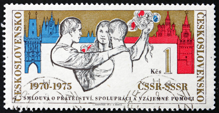 CZECHOSLOVAKIA - CIRCA 1975: a stamp printed in Czechoslovakia shows Czechoslovak-Russian Friendship, circa 1975