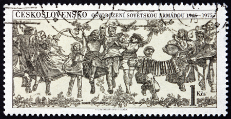 CZECHOSLOVAKIA - CIRCA 1975: a stamp printed in Czechoslovakia dedicated to Liberation by Soviet Army, circa 1975