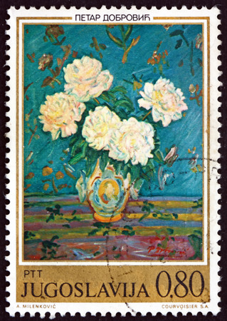 YUGOSLAVIA - CIRCA 1974: a stamp printed in Yugoslavia shows White Peonies, Painting by Petar Dobrovic, circa 1974 Editorial