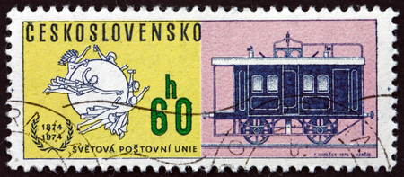 CZECHOSLOVAKIA - CIRCA 1974: a stamp printed in Czechoslovakia shows Railroad Mail Coach, circa 1974