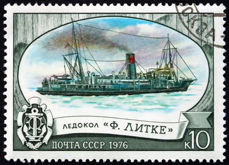RUSSIA - CIRCA 1976: a stamp printed in the Russia shows Fedor Litke, Icebreaking Steamship, circa 1976 Editorial