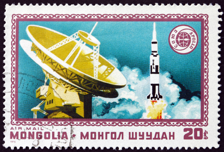 MONGOLIA - CIRCA 1975: a stamp printed in Mongolia shows Radar and Apollo, Apollo Soyuz Space Test Project, Space Cooperation, circa 1975