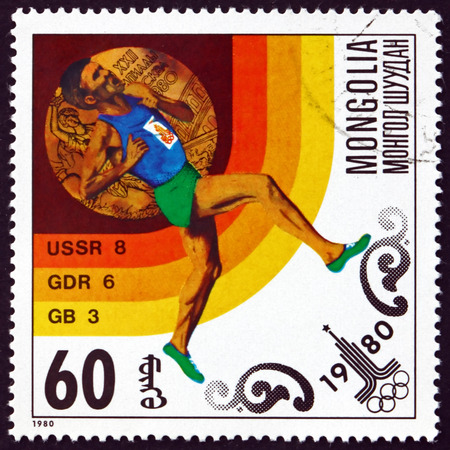 MONGOLIA - CIRCA 1980: a stamp printed in Mongolia shows Running, Gold Medal and Number of Medals Won by Top Countries, Moscow '80, circa 1980