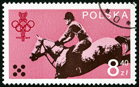 POLAND - CIRCA 1979: a stamp printed in the Poland shows Equestrian, 1980 Olympic Games, circa 1979