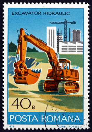 ROMANIA - CIRCA 1978: a stamp printed in Romania shows Hydraulic Excavator, Industrial Development, circa 1978