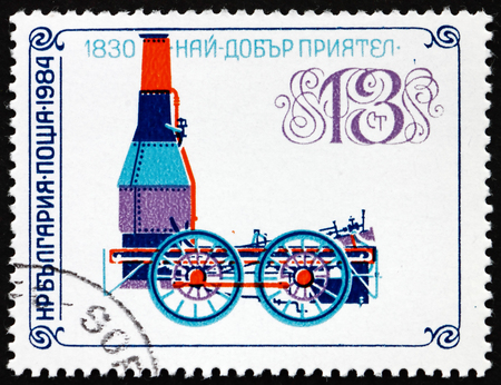 BULGARIA - CIRCA 1984: a stamp printed in Bulgaria shows Best Friend of Charleston, Locomotive from 1830, circa 1984 Editorial
